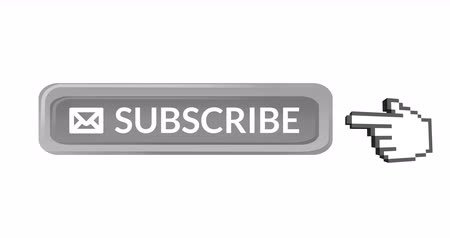 subscribers : Digital animation of the word SUBSCRIBE and envelope icon with a hand icon vector on the left pointing on it against white background. 4k