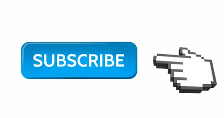 subscribers : Digital animation of blue subscription button with moving pointing hand icon on the right on white background. 4k