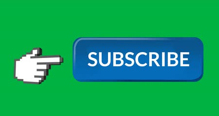abonament : Digital animation of blue subscription button with a moving pointing hand icon on the left on green background 4k