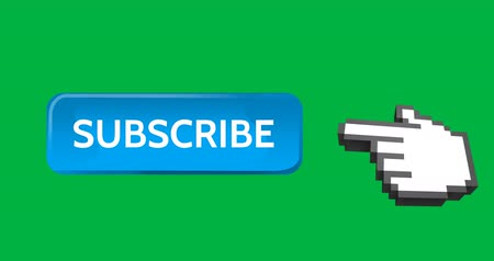 interativo : Digital animation of a light blue subscription button with a moving pointing hand icon on the right on a green background 4k Stock Footage