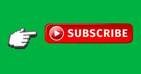 subscribers : Digital animation of red subscription button with play icon beside it. Moving pointing hand icon on the left on green background. 4k Stock Footage