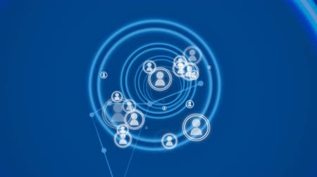 representação : Digital animation of people icon vectors surrounded with circular hypnotic rings and network loops in blue background.