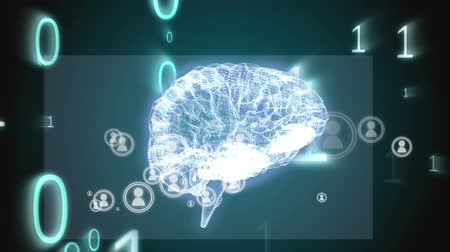effects on brain : Digital animation of a rotating 3d brain with moving binary digits across the screen and a moving gray rectangle at the back on a black background Stock Footage