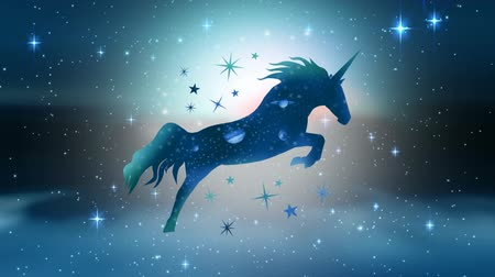 мифический : Digital animation of a beautiful sketch of a unicorn with galaxy-themed body in an outer space with numerous sparkling stars as background