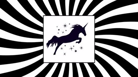 мифический : Digital animation of a black sketch of a unicorn with stars around it and is inside a white rectangle. Rotating hypnotic spirals as background