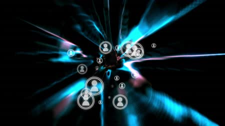 generált : Digital animation of a series of vector icons of people appearing on the middle of the screen, with moving distorted blue lights on a black background