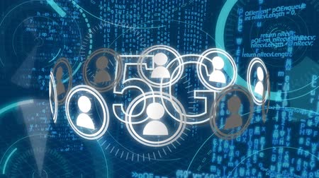 širokopásmové : Digital animation of 5g technology with random moving digital circles and vector icons of people around 5g, on a blue background Dostupné videozáznamy
