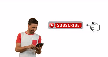 subscribers : Digital animation of a red and grey subscribe button with a hand icon pointing towards it. Beside it is an enthusiastic Caucasian man typing on tablet for social media. 4k