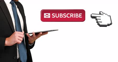 subscriber : Digital animation of a subscriber button with a hand icon pointing towards it. Beside it a businessman typing on tablet checking social media. 4k