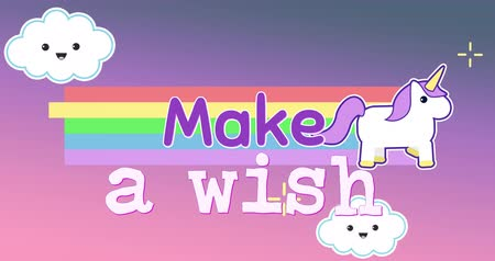 acreditar : Digital animation of unicorn running across the screen while leaving behind rainbow with text that reads make a wish. The background is a purple sky with smiling clouds 4k