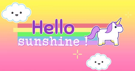 motivasyonel : Digital animation of unicorn running across the screen while leaving behind rainbow with a text that reads hello sunshine. The background is a colourful sky with smiling clouds and twinkling stars moving to the left 4k Stok Video