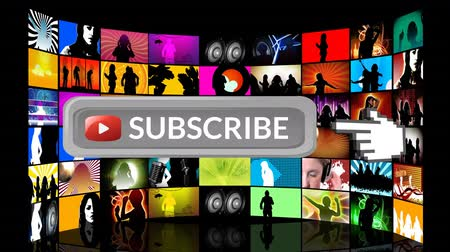 subscribers : Digital animation of subscribe button with hand icon pointing towards it for social media. The background is filled with screens with music on social media