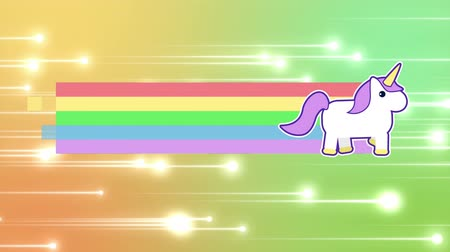 coisas : Digital animation of unicorn running across the screen leaving behind a rainbow. Shiny lights moving slowly towards the right against yellow and green background.