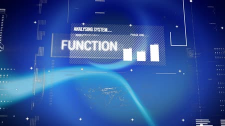 objetivo : Digital animation of interface codes with graphs and statistics. The background is blue with flashing lights.