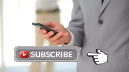 subscribers : Digital animation of grey subscribe button with a hand icon pointing towards it. Behind it is a businessman texting on his phone for social media.