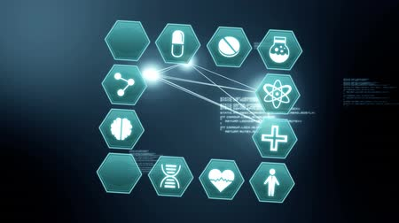 biologia : Digital animation of medical science symbols on hexagons stacked together in the shape of a square. The background is filled with interface codes and glowing network of lines.