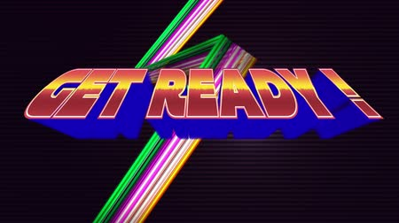 arcades : Digital animation of a get ready text with arcade gaming theme. The background is dimmed with slow flashing lights Stock Footage