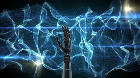 mechanizm : Digital animation of a rotating robot hand on a blue digital abstract background. The hand slowly closes and opens its palm Wideo