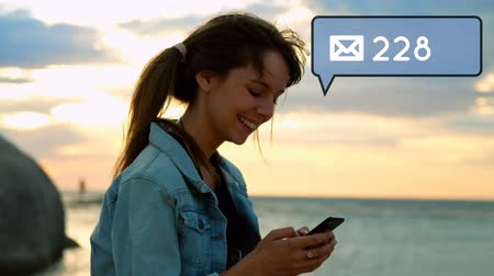 representação : Digital animation of a Caucasian woman texting on her phone while over looking the beach. On the foreground is a message icon increasing in count for social media