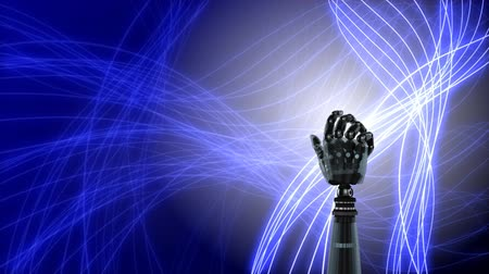 кодирование : Digital animation of robot hand rotating on an abstract background with glowing net. The hand slowly closes and opens its palm.