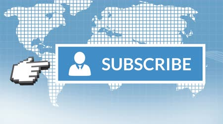 subscribers : Digital animation of blue subscribe button with a hand icon pointing towards it for social media. The background is a world map made out of squares.