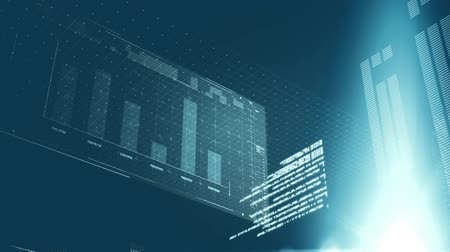 выигрыш : Digital animation of a futuristic screen with graphs and statistics. The background has glowing beams lights.