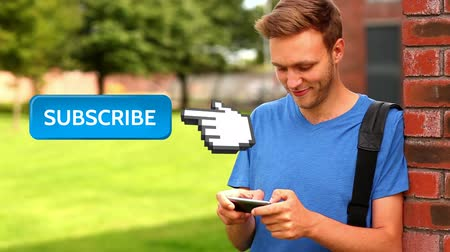 subscribers : Digital animation of a collage student leaning against wall while texting. Beside him is a subscribe button with a hand icon pointing at it for social media.