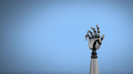 mechanizm : Digital animation of a robot hand rotating on a sky blue background. The hand slowly closes and opens its palm Wideo