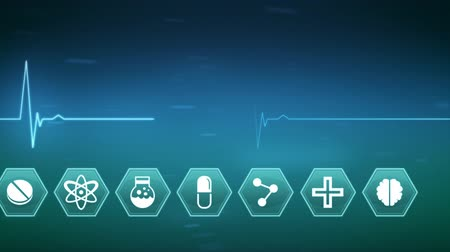 teknolojileri : Digital animation of medical science symbols appearing on a blue background. Life line is moving across the screen. Stok Video