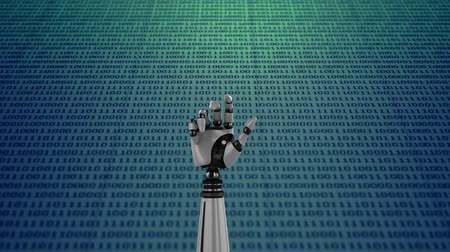 mathematic : Digital animation of a robot hand on background filled with binary codes. The hand slowly closes and opens its palm Stock Footage