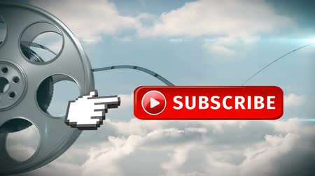 subscriber : Digital animation of red subscribe button with a hand icon pointing towards it. Beside it is a film roll on a sky background for social media.