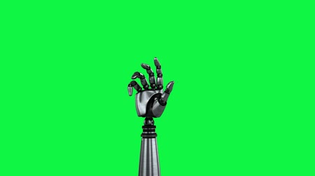 fotokopi makinesi : Digital animation of a robot arm spinning on a green background. The hand slowly closes and opens its palm