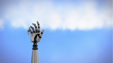 szerelő : Digital animation of a robot arm rotating on a sky background. The hand slowly closes and opens its palm. Stock mozgókép