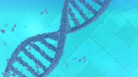 keresztül : Digital animation of a DNA helix rotating on a blue background. The background has square frames moving across Stock mozgókép
