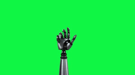 tenso : Digital animation of a robot arm moving on a green background. The hand slowly closes and opens its palm