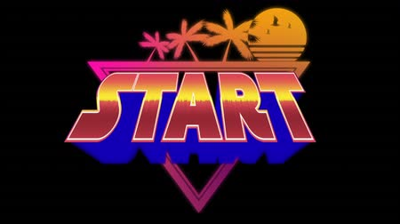 retro stílusú : Digital animation of an arcade game start with illustrations of sunset and palm trees