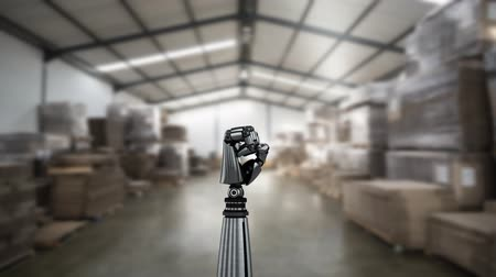 mechanizm : Digital animation of a robot arm in a delivery warehouse. The hand slowly closes and opens its palm Wideo