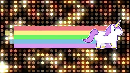 keresztül : Digital animation of unicorn running across the screen leaving behind a rainbow. The background is filled with sequenced shiny dot lights