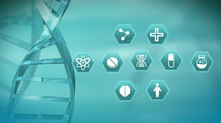 beside : Digital animation of DNA helix rotating beside medical science symbols in hexagons against blue background.