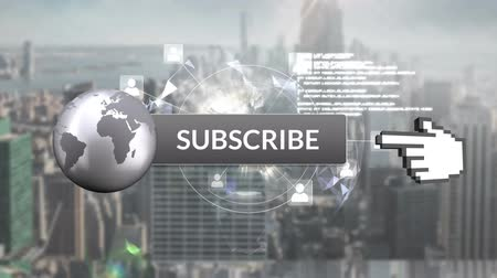 subscribers : Digital animation of a subscribe button with a hand icon pointing towards it. Behind it is a view of a city with tall buildings. It indicates subscription for social media Stock Footage