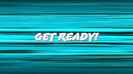 retro stílusú : Digital animation of get ready sign in arcade gaming theme against blue and black line background. Stock mozgókép
