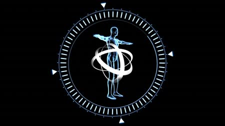 atomic model : Digital animation of illustration of 3D human body inside ring frame with spinning rings