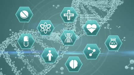 атомный : Digital animation of medical science symbols with DNA helix in the background. Molecules are floating beside the DNA helix