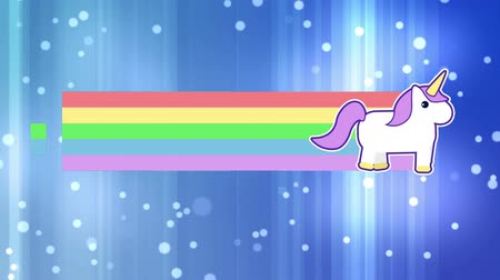 materiaŁ : Digital animation of unicorn running across leaving behind rainbow. The background is blue with glowing light spheres