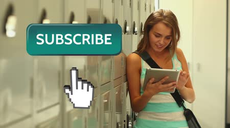 subscribers : Digital animation of Caucasian girl leaning on school lockers while typing on tablet. Beside her is  subscribe button with pointing hand on social media Stock Footage