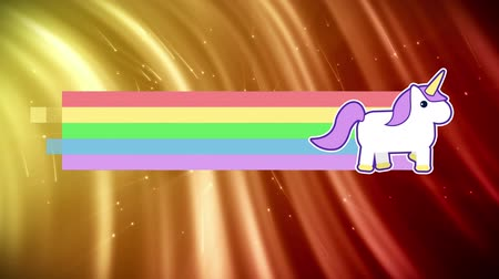 coisas : Digital animation of unicorn running across the screen leaving behind rainbow. The background is bright coloured flowing lights