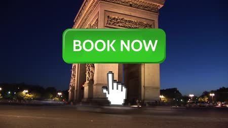 jelenleg : Digital animation of book now button with hand icon pointing towards it. The background is the Arc de Triomphe in France