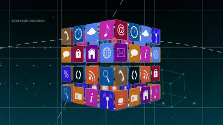 descarregamento : Digital animation of different online and application icons for social media in squares arranged in a cube rotating in the screen with a futuristic background. Square patterns with broken lines, dots, and numbers zoom in the screen and a cube rotates in t