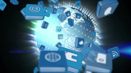 continent : Digital animation of different online and application icons in blue squares falling in the screen with a background of globe rotating while surrounded by glowing binary codes.
