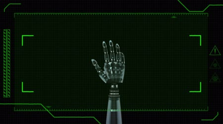 eye piece : Digitally generated animation of green view finder with robotic hands in the middle of the screen with palms opening and closing while rotating against a black background.